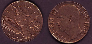 Facist Italy,10 Centesimi, Br-Red-UNC., 1941. Rare in this condition! - J.V. Bond Company