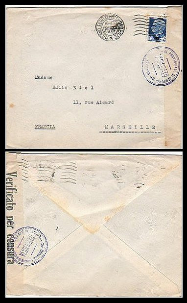 Italian wartime cover censored by Fascists. Milan to Marseille. - J.V. Bond Company
