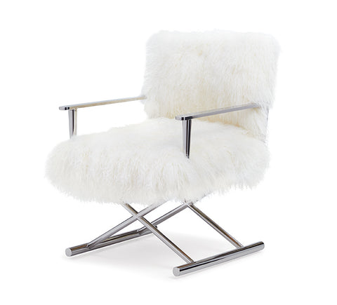 White Tibetan Arm Chair