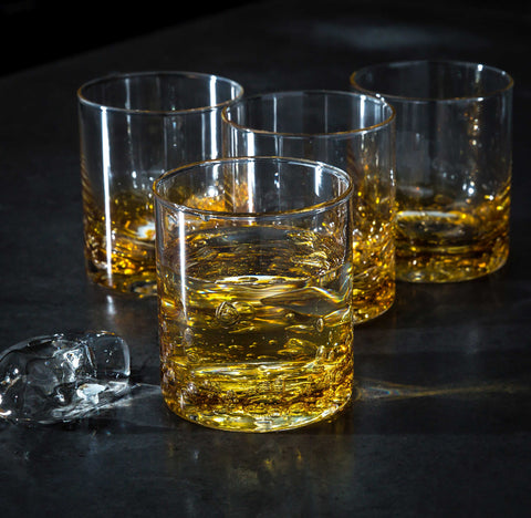 Jovian Collection Cocktail Glasses Set of 4: Hand-Blown 12-oz Rocks Glasses – [AMBER]