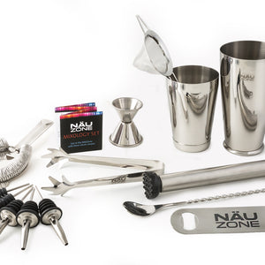 PLAIN BOX SPECIAL: 14 Piece Professional Bar Set | 28 oz Weighted Bottom Boston Shaker: Restaurant Quality Bartender Kit