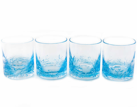 Jovian Collection Cocktail Glasses Set of 4: Hand-Blown 12-oz Rocks Glasses – [BLUE]