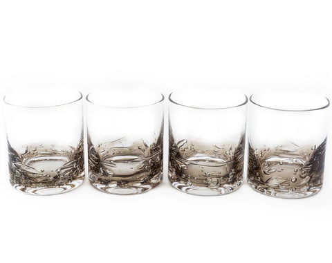 Jovian Collection Cocktail Glasses Set of 4: Hand-Blown 12-oz Rocks Glasses – [CHARCOAL]