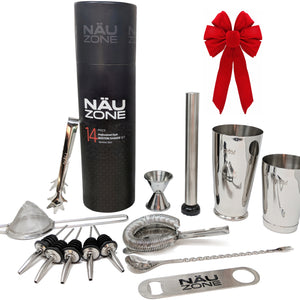 14 Piece Professional Bar Set | 28 oz Weighted Bottom Boston Shaker: Restaurant Quality Bartender Kit - Gift Packaging