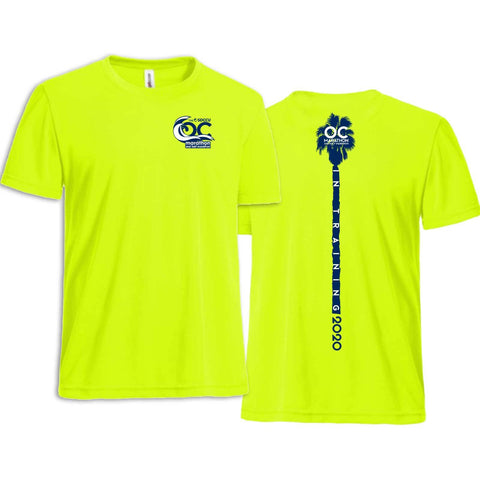 '2020 Training' Men's Tech SS Tee -Neon Yellow -OC Marathon
