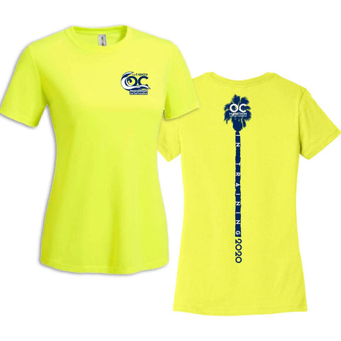 '2020 Training' Women's Tech SS Tee -Neon Yellow -OC Marathon