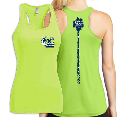 '2020 Training' Women's Tech Racerback Singlet -Lime Shock -OC Marathon