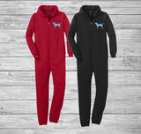 Love, Peace, and Dogs Adult Fleece Onesie