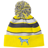 Love, Peace, Dogs Striped Beanie with Pom