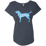 Love, Peace, and Dogs Ladies Triblend Dolman Sleeve