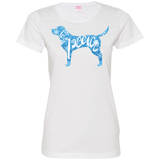 Love, Peace, and Dogs Ladies Custom Fine Jersey T-Shirt