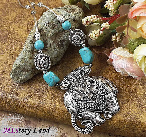 Elephant Turquoise Pendant Necklace