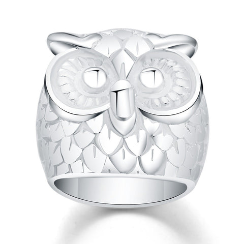 Beautiful OWL Silver Mesh Ring