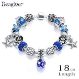 Starfish Charm Bracelet & Bangles with Blue Crystals