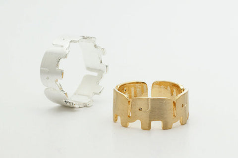 Gold and Silver Wrapped Round Elephant Rings