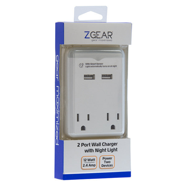 ZGEAR® 2.4 Amp Night Light with 2 AC & USB Outlets