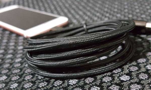 Navigate Wireless Lightning USB Black Chrome Braided Nylon Cable, 6 ft