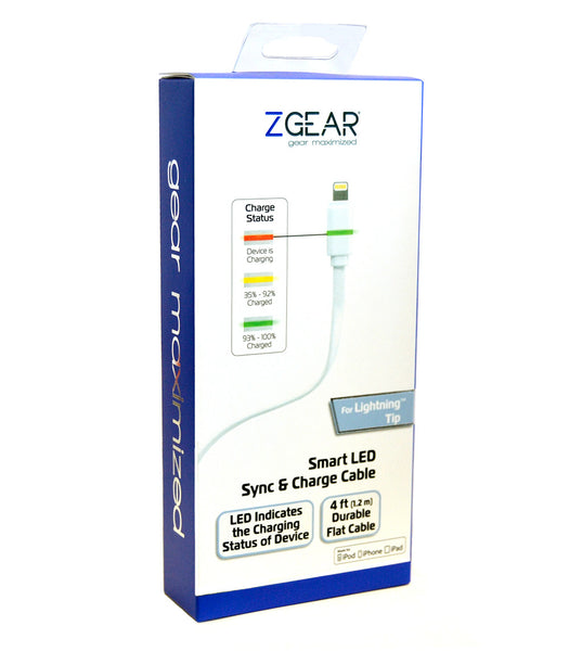 ZGEAR® Lightning USB Smart LED Sync & Charge Cable, 4 ft