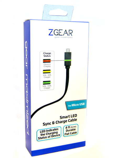 ZGEAR® Micro USB Smart LED Charge & Sync Cable, 4 ft