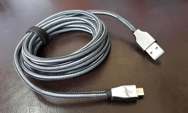 Navigate Wireless Micro USB Metal Tip Extended Length Charge & Sync Cable, 10 ft
