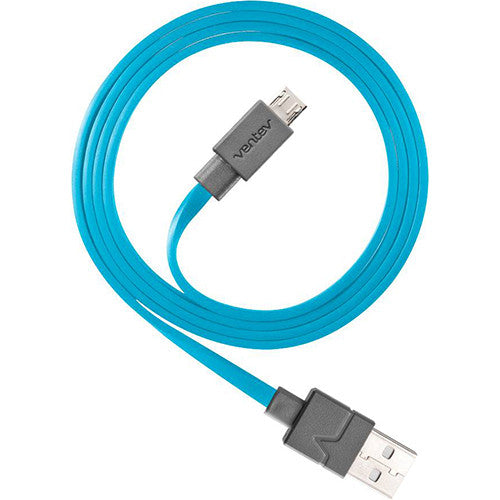 Blue Ventev® Chargesync Micro USB Tangle-Free Cable, 3.3 ft.