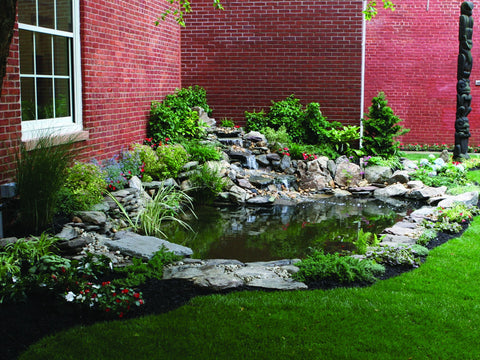 Ideas pond and waterfall marquis gardens for Garden pond rockery ideas