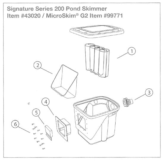 Aquascape Signature Series 200 Skimmer Replacement Parts - Item #43020, #99771