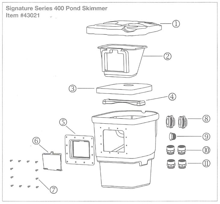 Replacement Parts Diagram for Aquascape Signature Series 400 Pond Skimmer - Item 43021