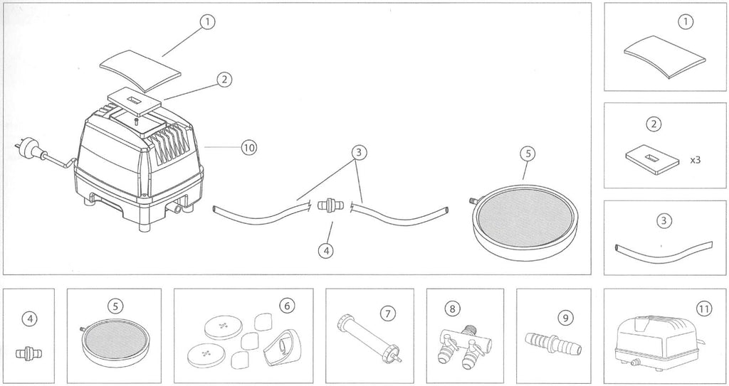 Replacement Parts Diagram For Aquascape Pond Aerator Pro   Item 61000