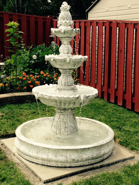 3 Tier Pineapple Fountain in Basin
