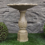 Photo of Birdbath - Leaf Base - Shallow Tulip Top  - Marquis Gardens