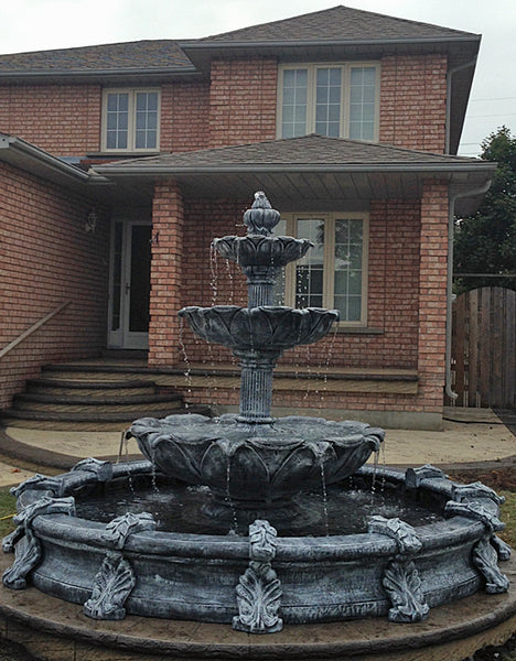 Large 3 Tier Leaf Fountain with Basin