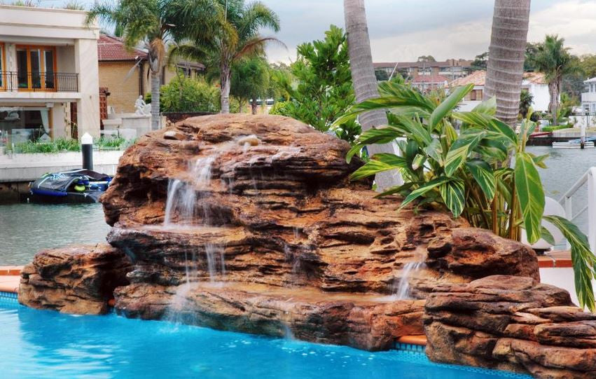 Photo of The Cascades - Swimming Pool Waterfall - PLEW-002 by Universal Rocks  - Marquis Gardens