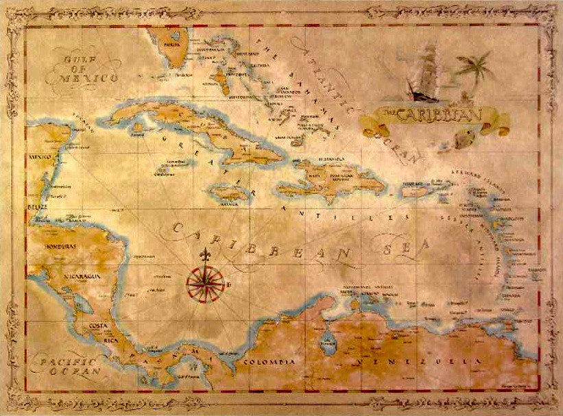 Caribbean Antique Style Map Caribmart - Map of caribbean