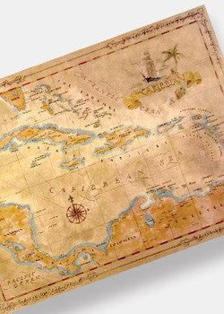 Caribbean Antique Style Map