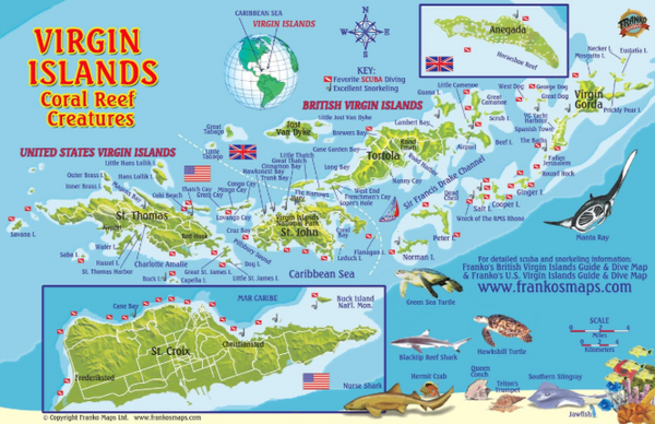 "Virgin Islands ""Coral Reef Creatures"" Mini-Map and Fish ID Card by Franko"