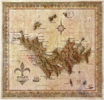 St. Barts Antique Style Map