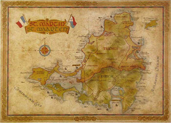 St Martin On World Map.St Martin Antique Style Map Caribmart