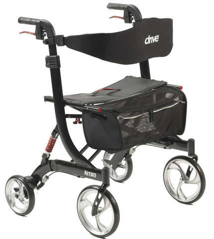 Drive Medical Nitro Euro Style Rollator Rolling Walker, Heavy Duty, Black
