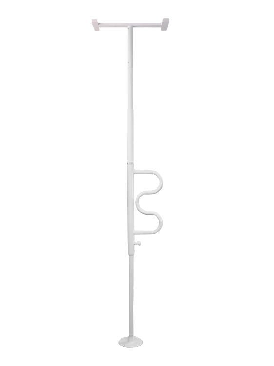 Stander Security Pole & Curve Grab Bar (White)