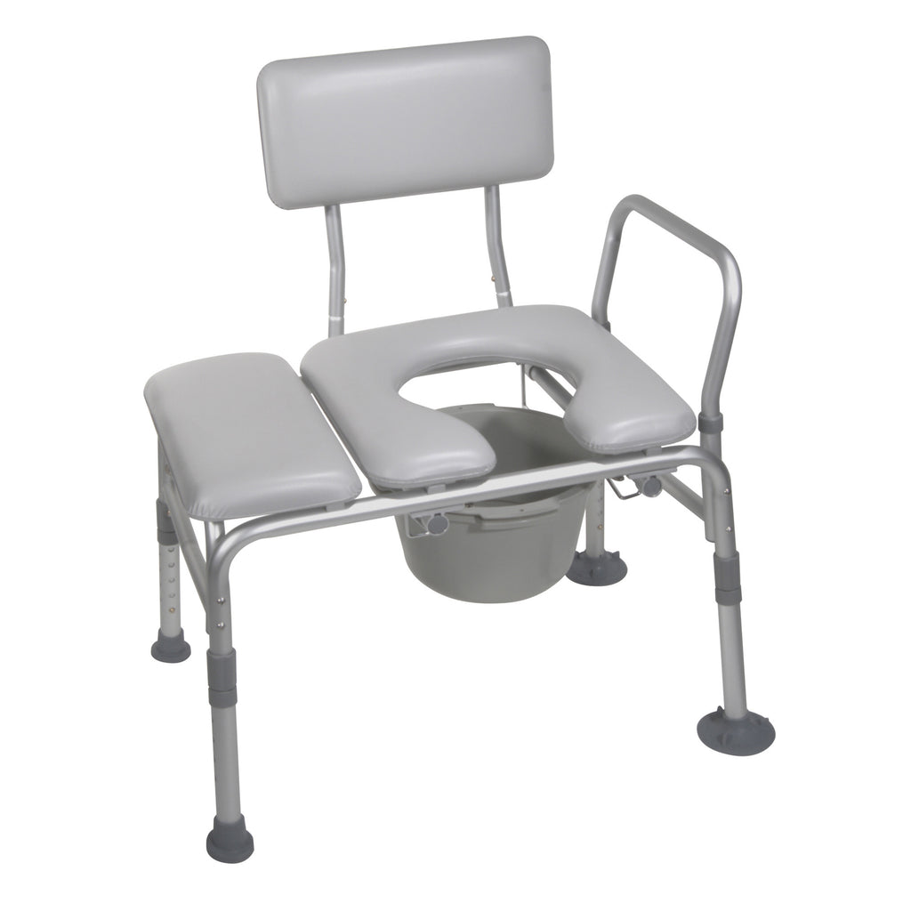 Padded Seat Transfer Bench with Commode Opening