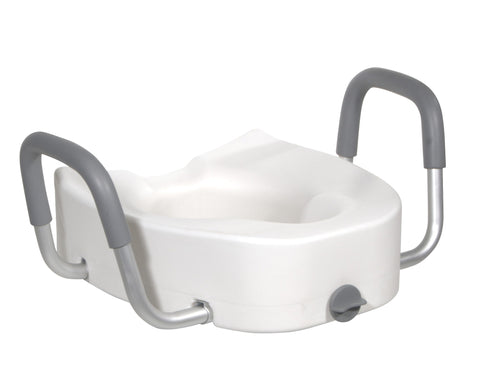 Raised Toilet Seat with Padded Armrests