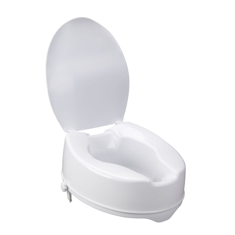 Raised Toilet Seat with Lock and Lid, 6""