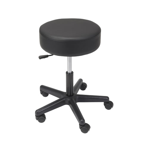 Padded Seat Revolving Pneumatic Adjustable Height Stool, Plastic Base