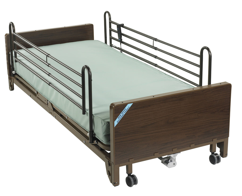 Delta Ultra Light Full Electric Low Hospital Bed with Full Rails and Foam Mattress