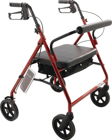 "Bariatric Rollator with 8"" wheels, Burgundy"