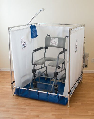 "Large Portable Wheelchair Safe Shower Stall (Made in the USA, 42""w x 42""d x 48""h)"