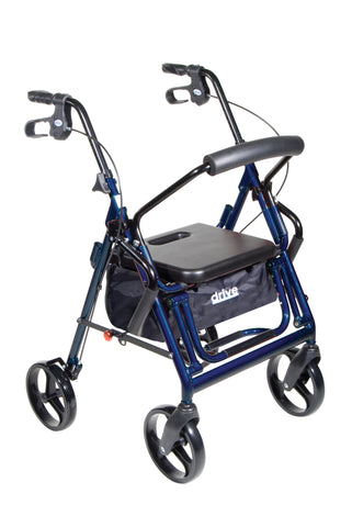 Duet Dual Function Transport Wheelchair Walker Rollator, Blue