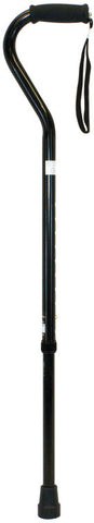 Offset Aluminum Cane with Strap, Black