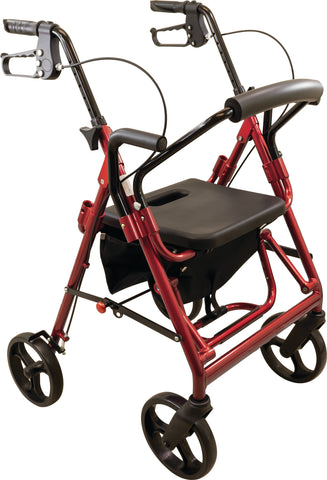 Deluxe Transport Rollator, Burgundy